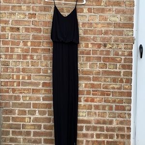 Black cotton jersey maxi dress